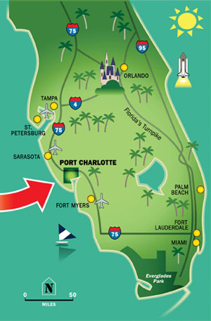 map of Port Charlotte, Florida